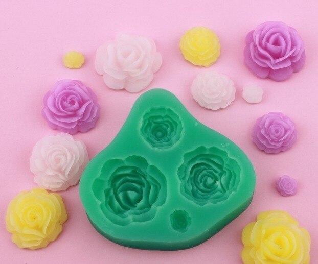 Molde de Argila Moda Rosaflor Fondant Silicone Bakeware Molde Decoração Gum Paste 4