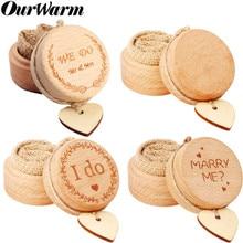 OurWarm-boîte en bois à alliances de mariage   Boîte à bijoux avec lettres, décoration rustique pour fête fiançailles mariage st valentin bohème