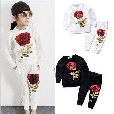 Conjunto de ropa con Rosa y lentejuelas para chicas adorables, ropa deportiva, Tops + Pantalones, conjunto de 2 uds Tracksut