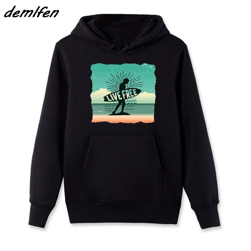 Spring Autumn Fashion Men Hoody Fleece Sweatshirt Inspiring Live Is Free, Surfings Funny Sunset Beach Black Hoodies Jacket