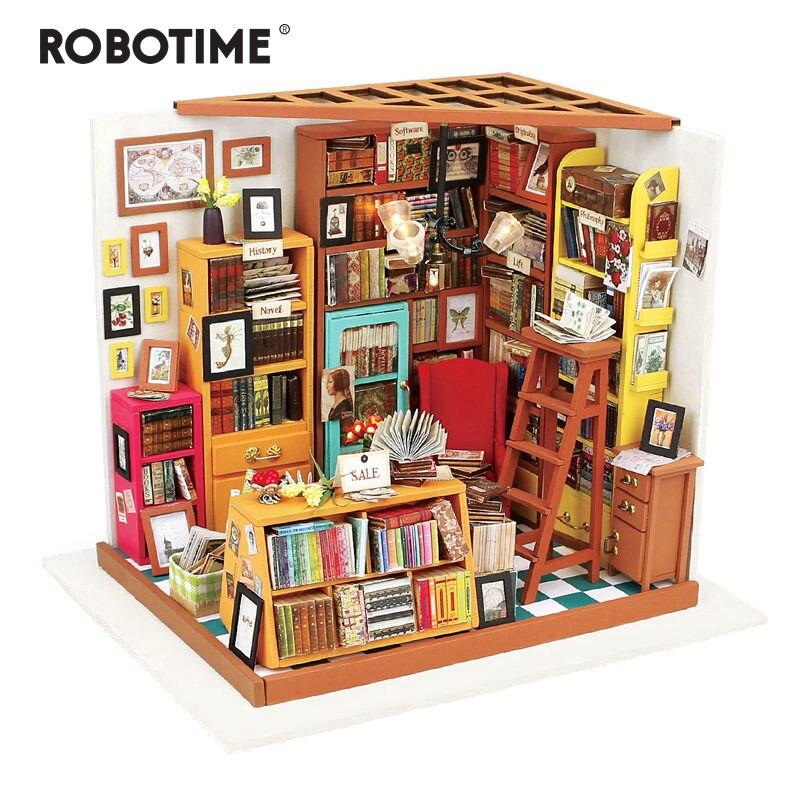 Robotime diy sam sala de estudo com móveis crianças adulto em miniatura de madeira casa boneca modelo kits de construção brinquedo casa de bonecas dg102