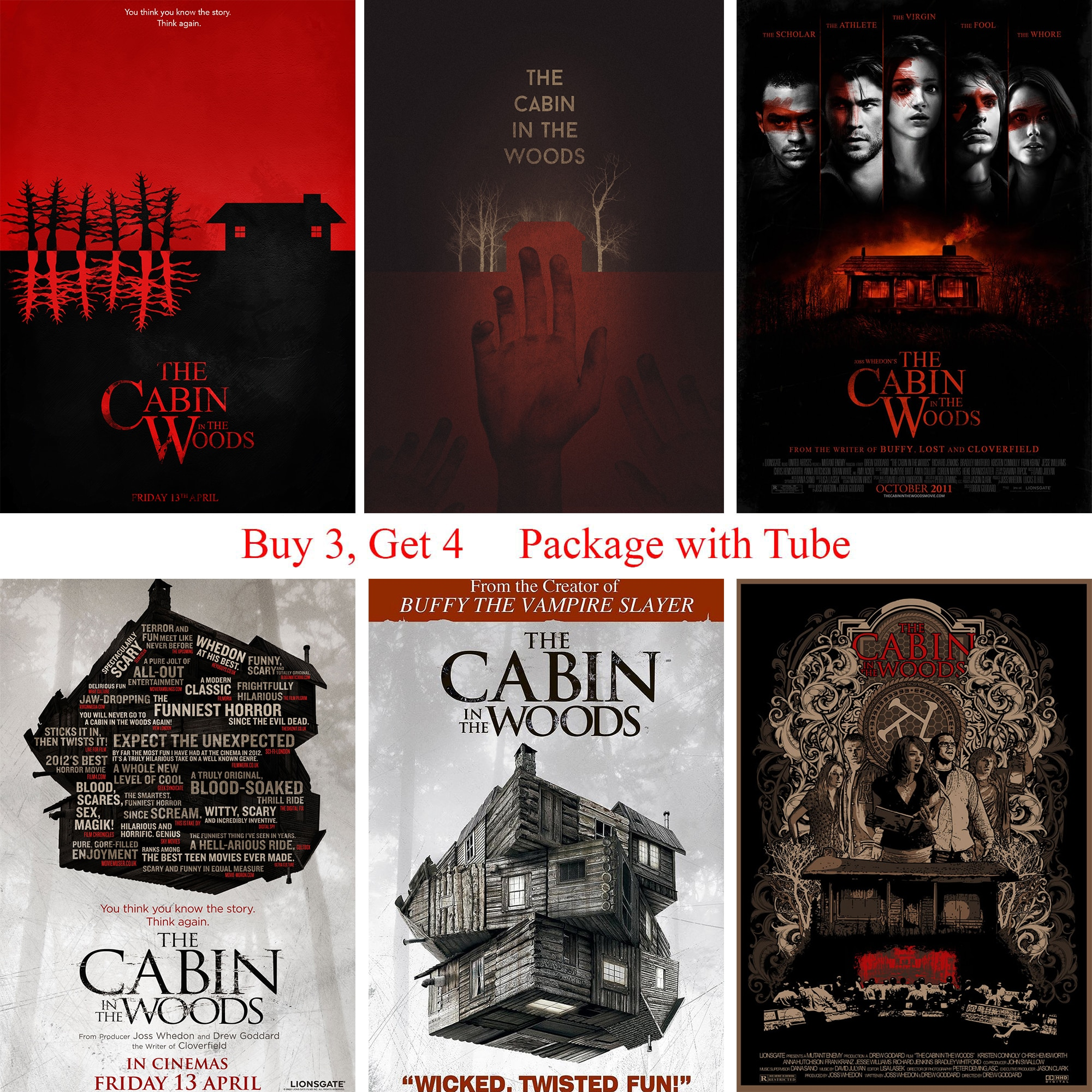 The Cabin in the Woods Poster Clear Image Wall Stickers Home Decoration High Quality Prints White Coated Paper home art Brand