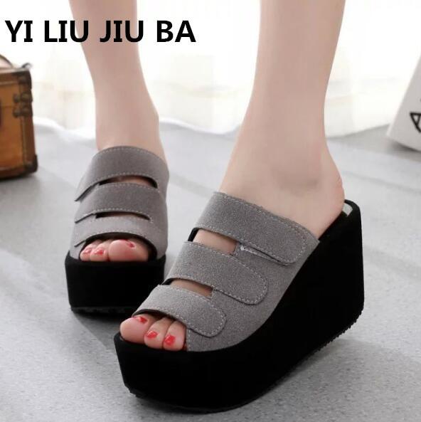 Heißer verkauf Sommer frauen Schuhe mode Frau Flip-Flops Keil hohe ferse Schuhe Frau Strand flach Hausschuhe Zapatos Mujer ** 314