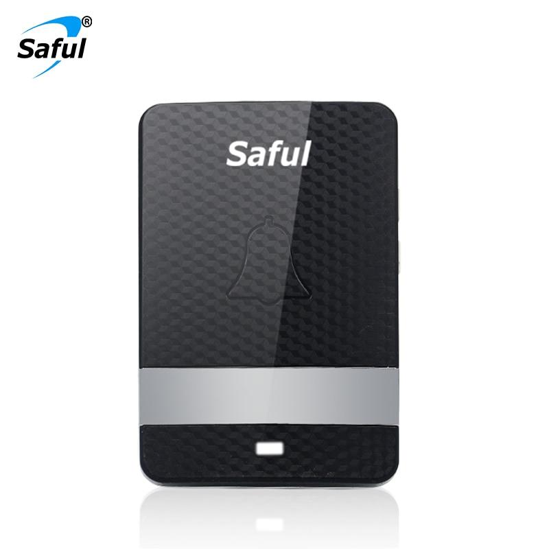 Saful Waterproof IP68 Wireless Doorbell Press Button Transmitter and EU/US Indoor Receiver Self powered Doorbell Accessory