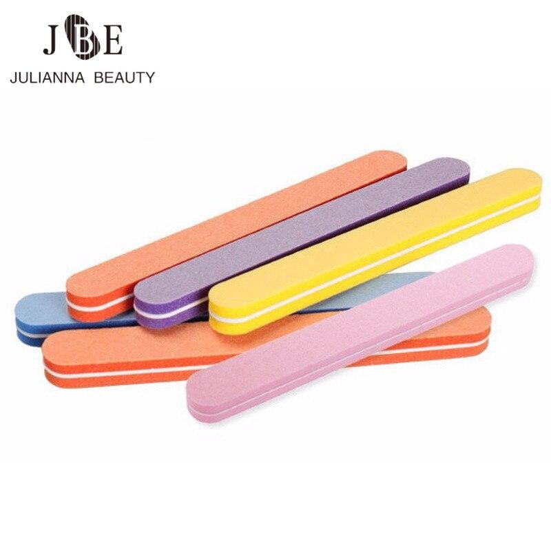 50 x dupla face 100/180 esponja macio arquivo de unhas buffer lixa lavável uv gel polonês beleza cor prego arquivo cuidados manicure ferramenta