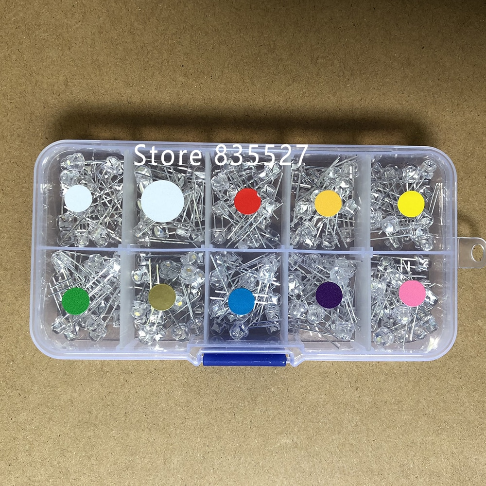 200 pçs/caixa mix 5mm led f5 sortidas kit palha chapéu quente branco verde vermelho azul amarelo uv laranja rosa diy diodo emissor de luz conjunto