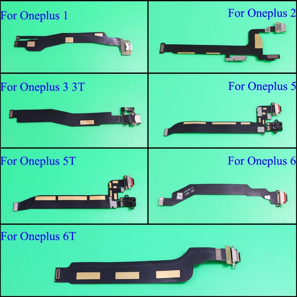 Para One plus 1 2 3 3T 5 5T 6 6TDock conector placa del cargador puerto de carga USB flexible Cable para OnePlus X piezas de repuesto