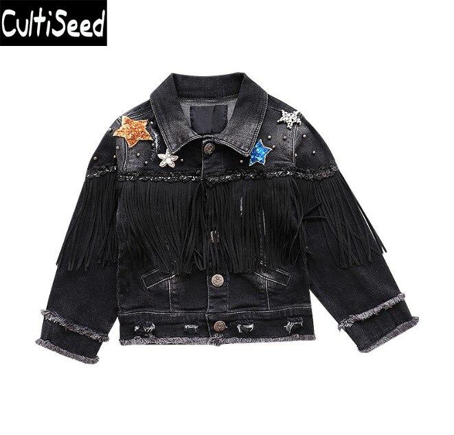Cultiseed Big Girls Denim Jeans Jacket Coat Baby Children Sequin Star Patchwork Tassel Elastic Jeans Coat Kids Black Casual Tops