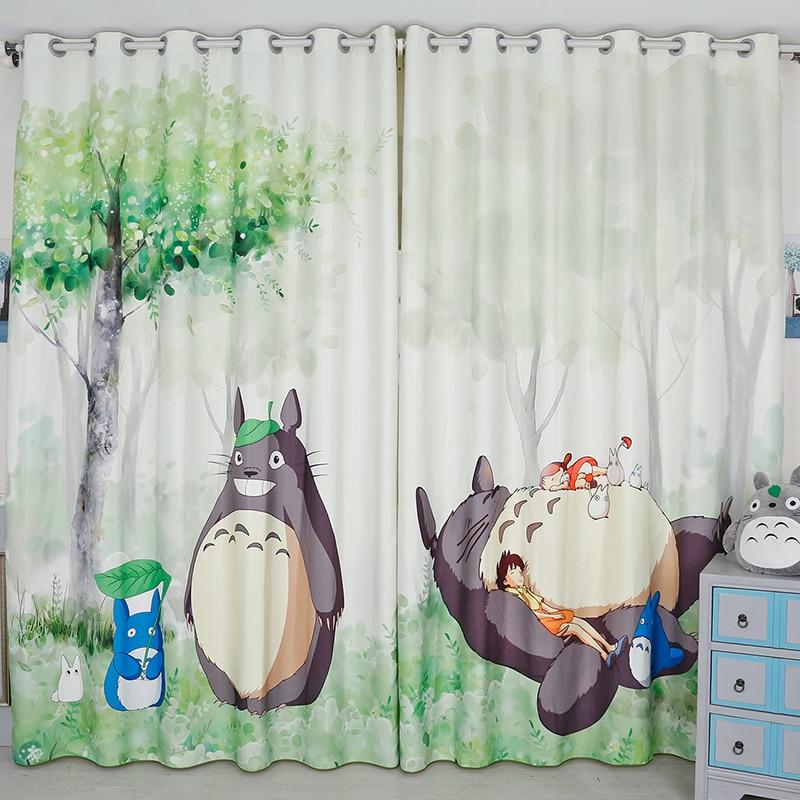 Cortina opaca para salón, cortina opaca con diseño de conejo Totoro de Japón, cortina de tela de terciopelo grueso para dormitorio y sala de estar