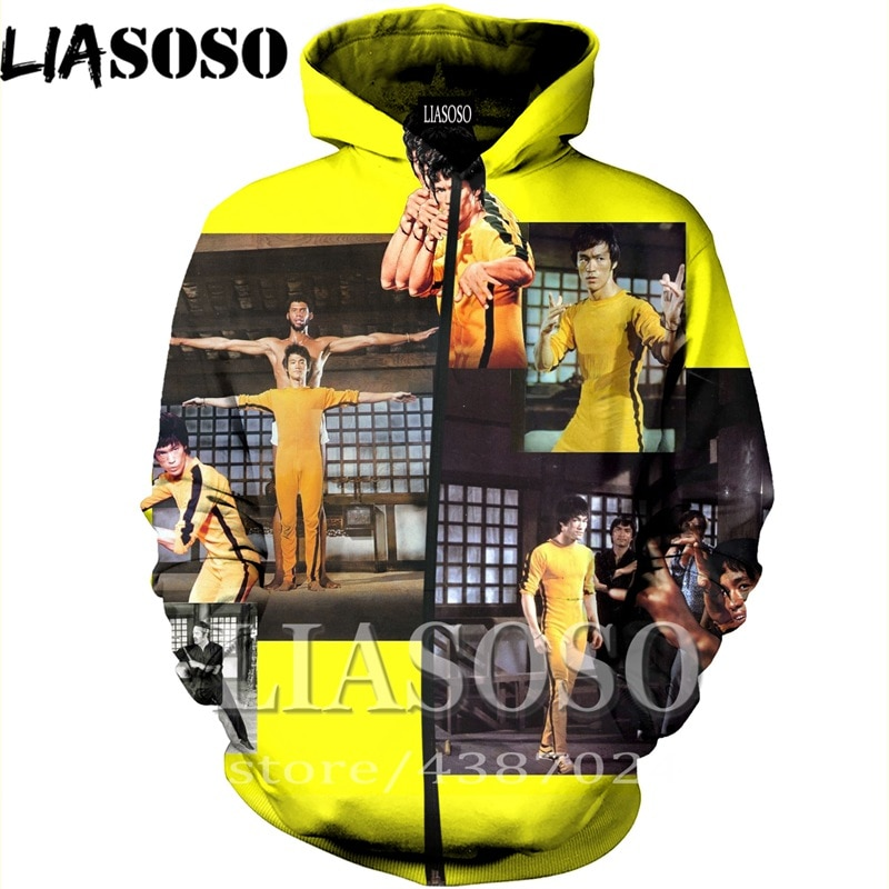 LIASOSO הסווטשרט 3D הדפסת homme גברים נשים קונג פו למעלה Harajuku ברוס לי סווטשירט מצחיק חולצה רוכסן אנימה אופנה נים e565