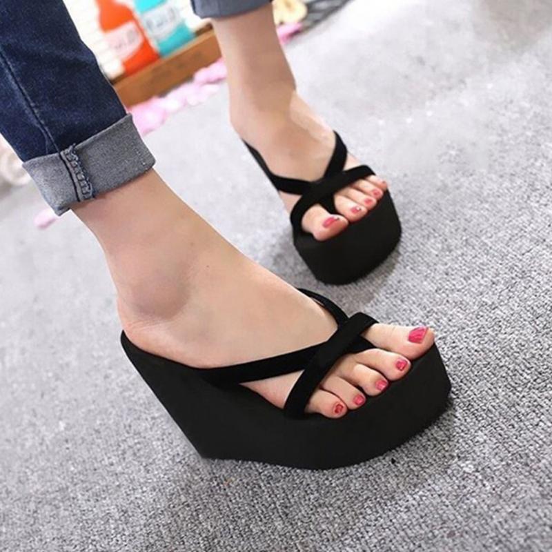 Verão doce mulher chinelos de salto alto chinelos plataforma cunha praia casa plana chinelo sandálias femininas preto/azul/rosa