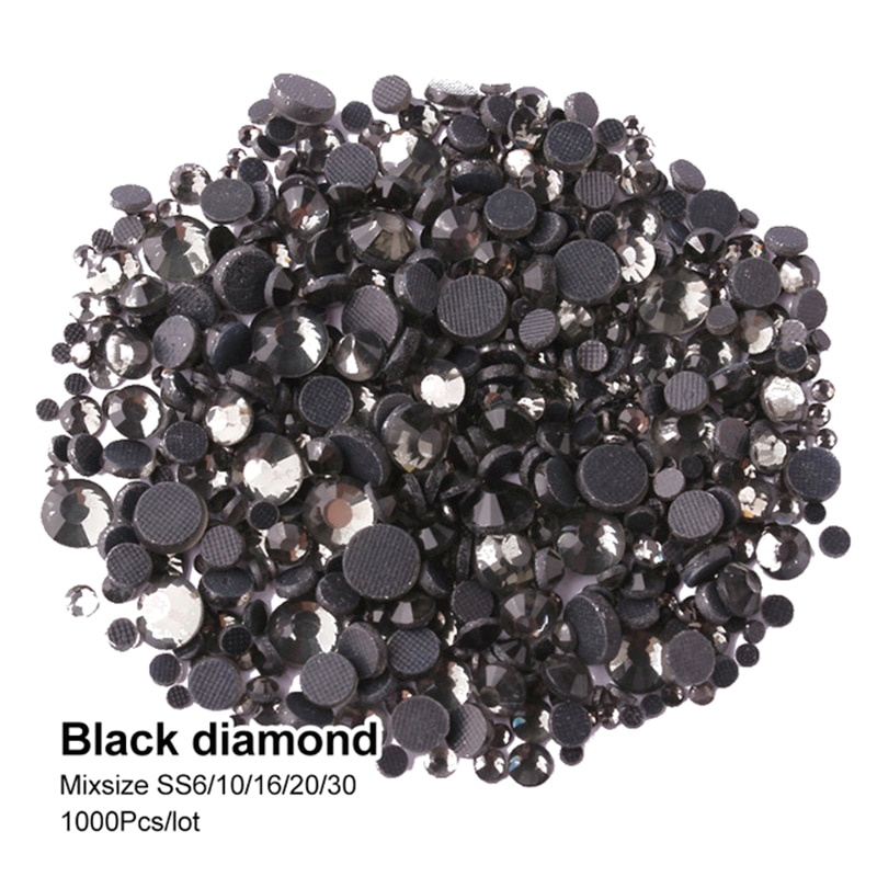 Hotfix Rhinestone Black diamond Mix size SS6-SS30 Crystal flatback stones 1000Pcs/lot for Adornment DIY free shipping