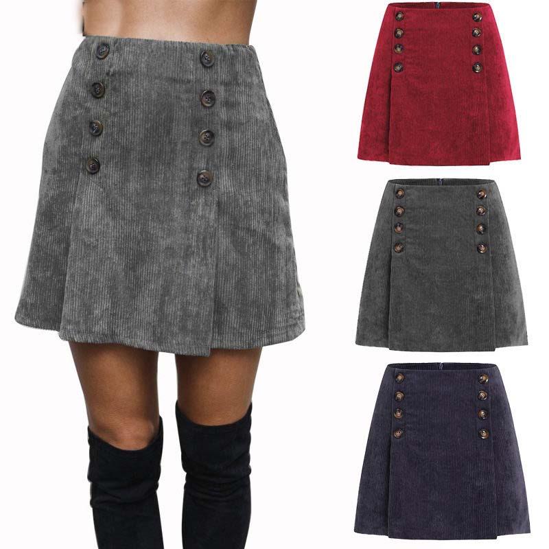 Corduroy Skirt Women High Waist Vintage A-line back Zipper Mini Skirt Solid Short Grey Button Mujer Office Korean Style Skirt