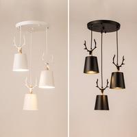 Nordic Restaurant E27 Pendant Light Three Personality Originality Simple Pendant Lamp Modern Deer Head Warm Lighting
