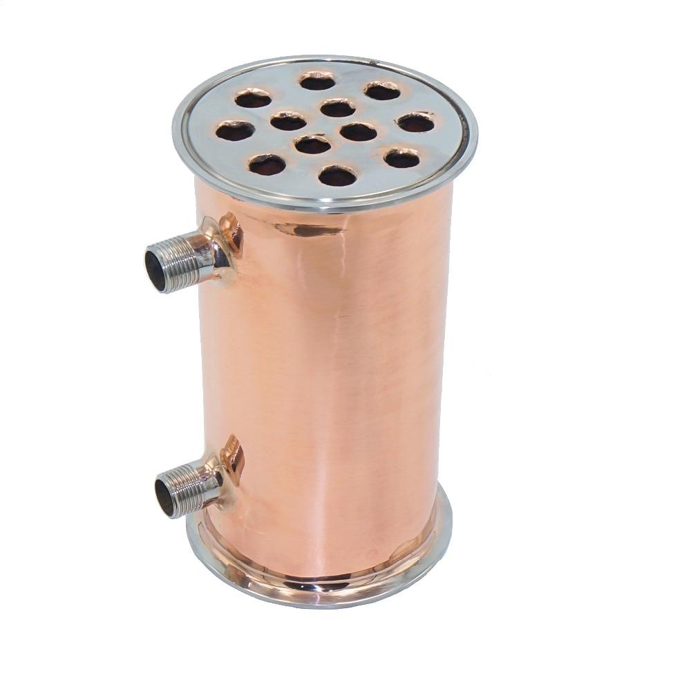 "4""102mm OD119mm Copper Condenser, Dephlegmator, Reflux, Distiller Condenser. 200mm, 12 pipes . Copper 99,99%"