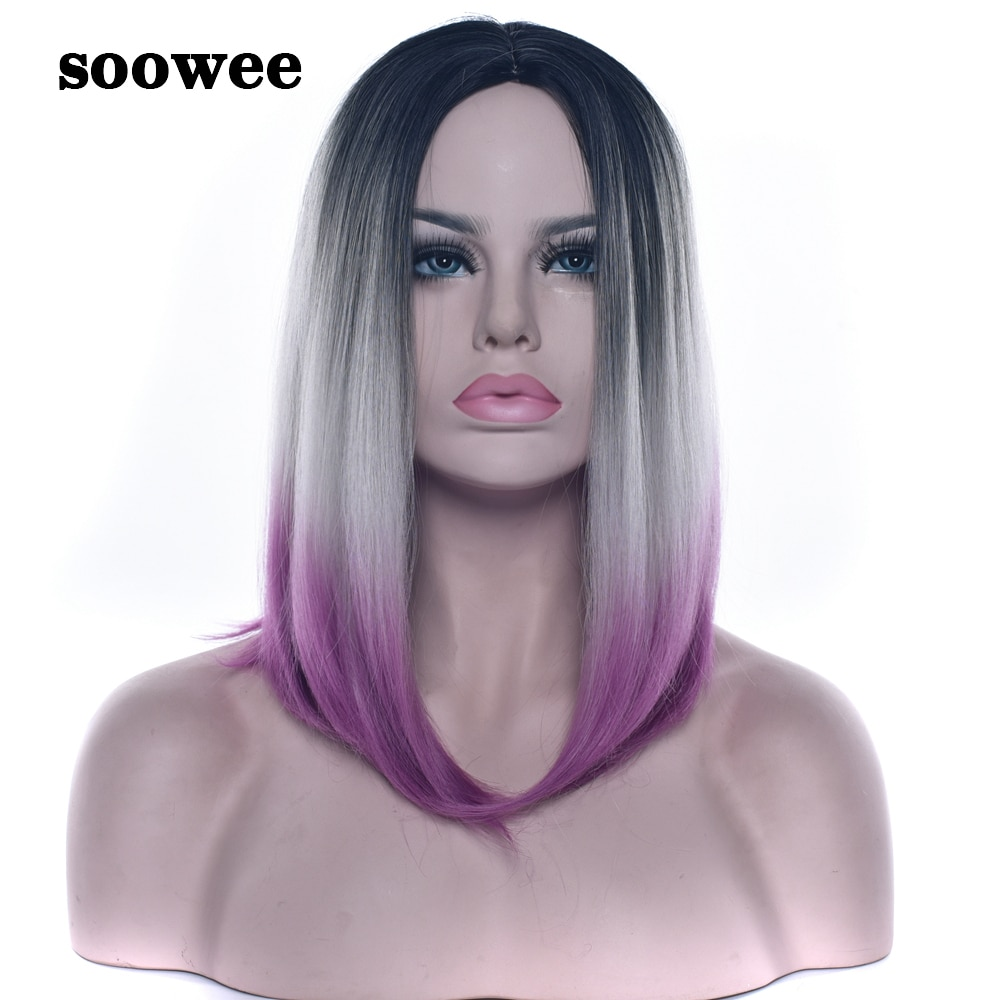 Soowee Synthetic Hair Black To Gray Purple Ombre Hair Short Bob Short Wigs for Women Straight Hair Cosplay Wig Wigs-female