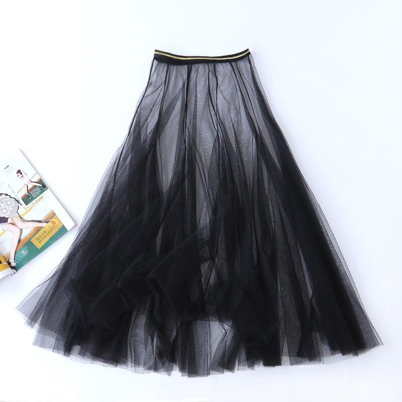 Mulheres verão sexy rendas plissado cintura alta saia longa senhoras coreano vintage elegante tule malha transparente gaze preto midi saia