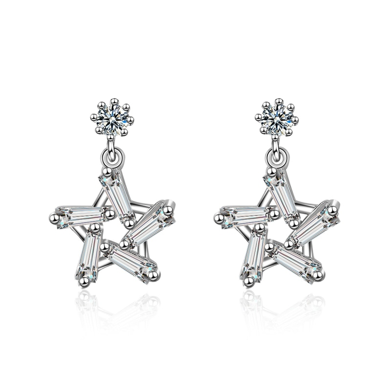 Everoyal Lady Fashion Gold Zircon Star Stud Earrings For Girls Jewelry Charm Silver 925 Women Accessories