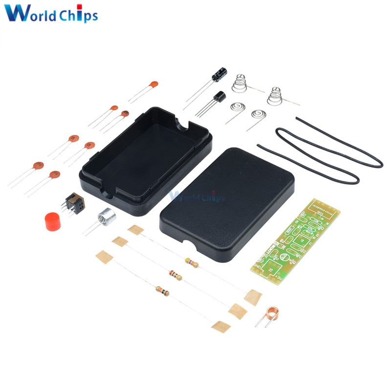 FM de modulación de frecuencia inalámbrica Módulo de micrófono 70-110MHz, 1,5 V Placa de transmisor Kits de piezas de paquete de electrónica + Shell Kit de bricolaje