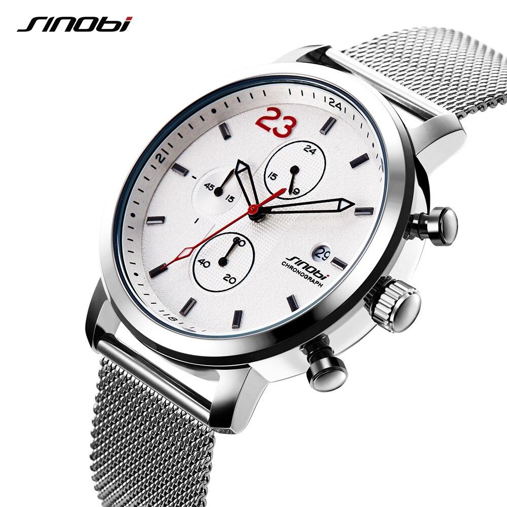 2018 nuevo SINOBI de cronógrafo Correa hombres reloj de cuarzo calendario correa de malla de moda Casual reloj masculino blanco esfera SAAT