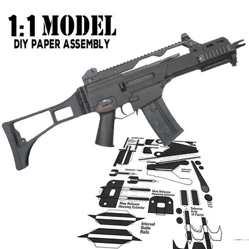 11 HK-G36 modelo de pistola de juguete de papel ensamblado juguete educativo construcción juguetes tarjeta modelo Construcción conjuntos