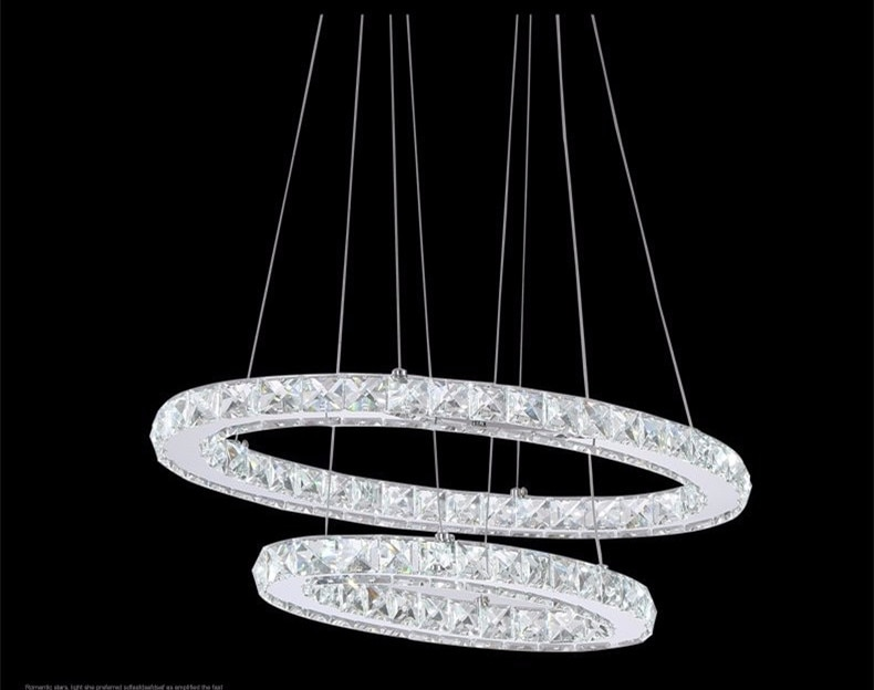 Crystal Light Lustre Hanging Suspension Light for Dining Room, Foyer, Stairs 2 Rings Crystal LED Chandelier Light Fixture c-019  - buy with discount