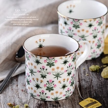 European Classic Country Style Teacup Golden Ceramic Mug Porcelain Gilded Mug Coffee Mug Milk Cup gilding Cup gold-plating Mug