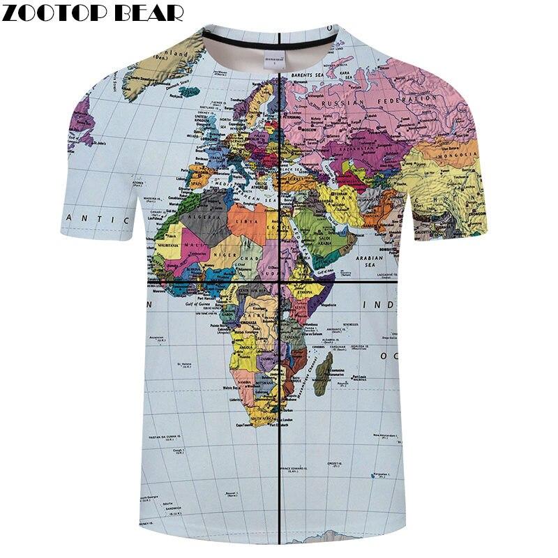 Camiseta estampada con mapa del mundo transparente en 3D, camiseta de viaje para hombre, camiseta Top, camiseta divertida de manga corta, ropa de calle, Dropship ZOOTOP BEAR