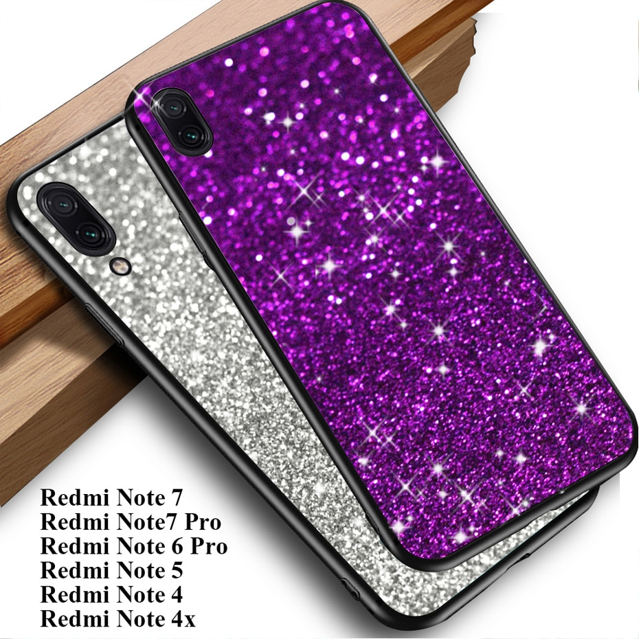 Capinha para xiaomi redmi nota 7 6 pro 5 plus 4x4 s2 y2 versão global casos de telefone capa em redmi nota 7 silicone tpu glitter