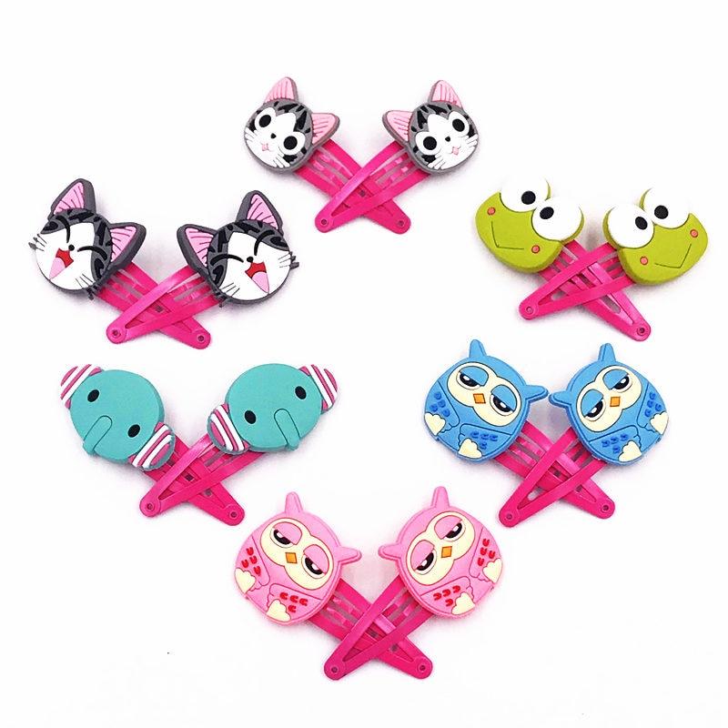 2PCS frog Owl Chi's Cat Elephant Animal Hairpins Girls Hair accessories Hair Clips Barrette Hair gum Hairbands Headband Hair tie