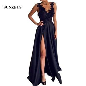 Beaded Appliques Straps V-neck Long Formal Dresses Dark Navy Blue Satin Evening Gowns For Women High Side Slit Party Dress