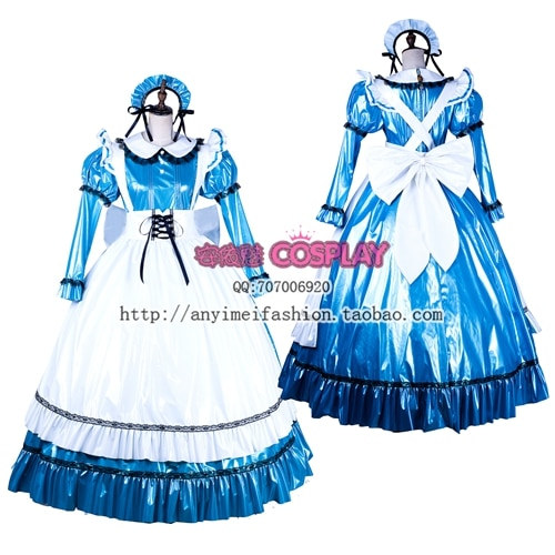 Бесплатная доставка, Готическая Лолита, синяя сатиновая горничная Сисси, платье для костюмированной вечеринки, костюм горничной на заказ, свободная Пышная юбка