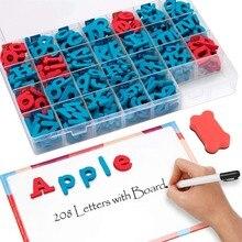 Magnetische Schaum Buchstaben 208 PCS Klassenzimmer Alphabete Set mit Magnet Board für Kinder ABC Rechtschreibung und Lernen Spielzeug für Kinder jungen