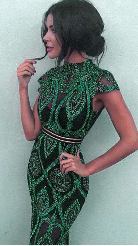 High Quality Sexy Short Sleeve Green Women Summer Dress 2018 Elegant Mini Celebrity Party Dresses