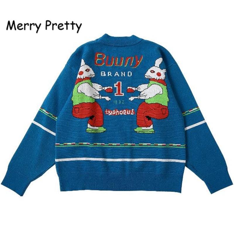 Merry Pretty, jersey de otoño para mujer, Jersey grueso de punto con letras de conejito, jerséis de diseño único de alta calidad para invierno