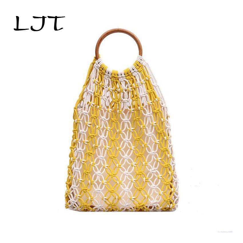 LJT bolsa tejida hueca 2019 bolso tejido multicolor gran capacidad playa vacaciones paquete mujer reticulado bolsa de compras