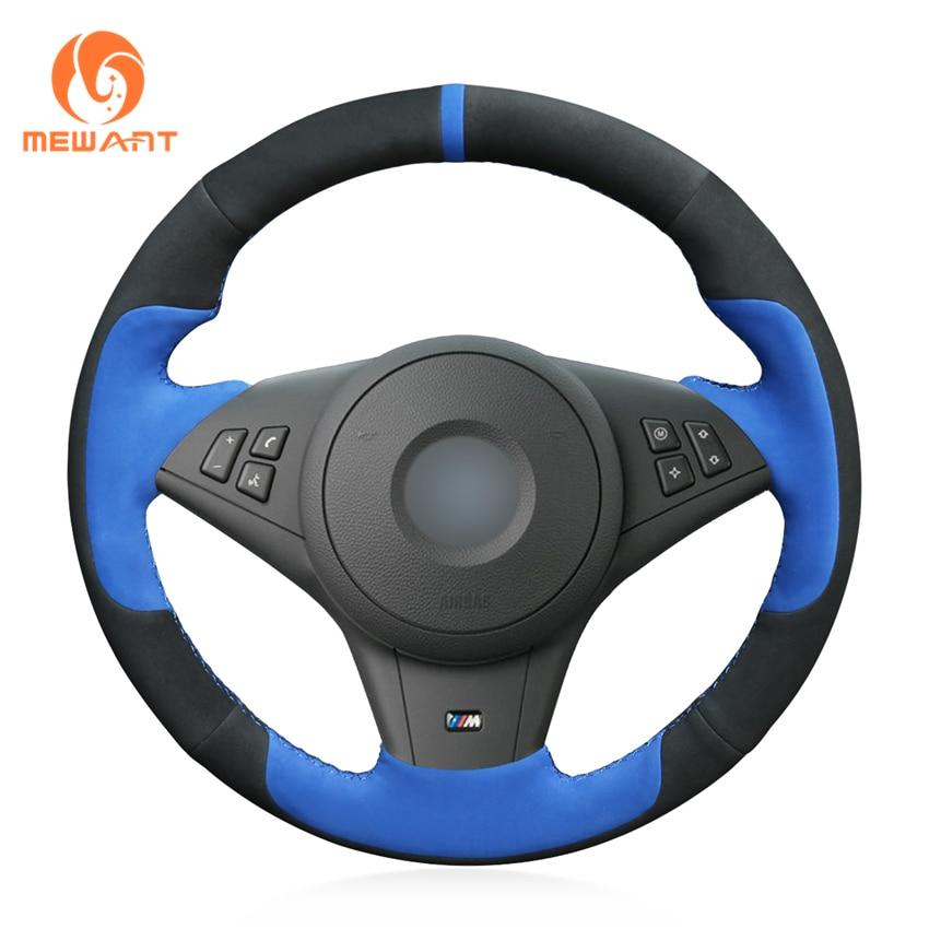 Ante negro mewant azul gamuza moda estilo cómodo volante de coche cubierta para BMW E60 E61 (Touring) 530d E63 E64 2004-2010