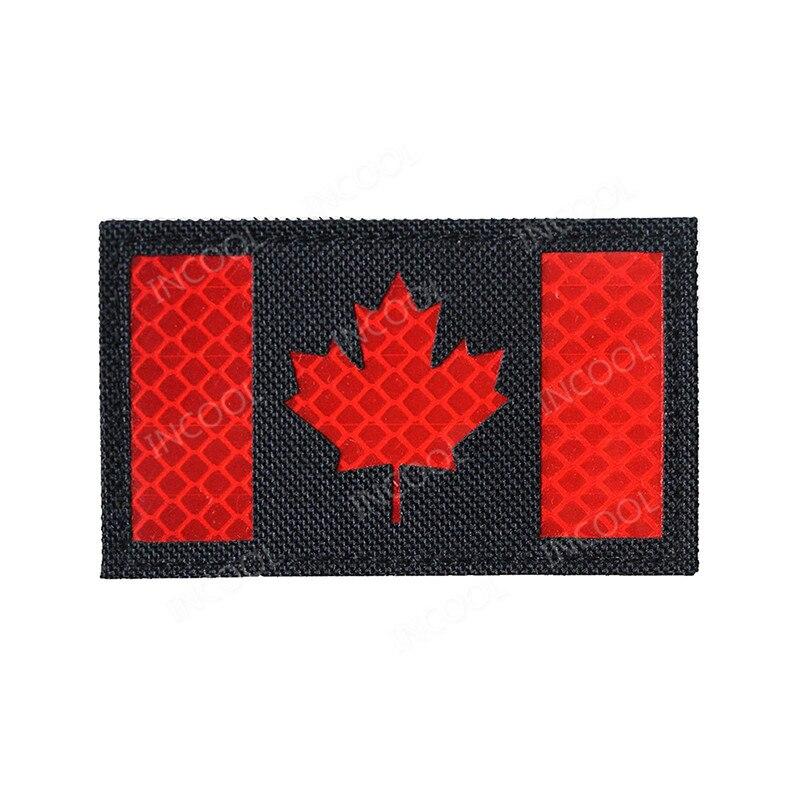 Parches reflectantes de PVC con bandera canadiense, parches IR, parche moral táctico militar, insignias de sujeción de goma para motorista para ropa con gorro