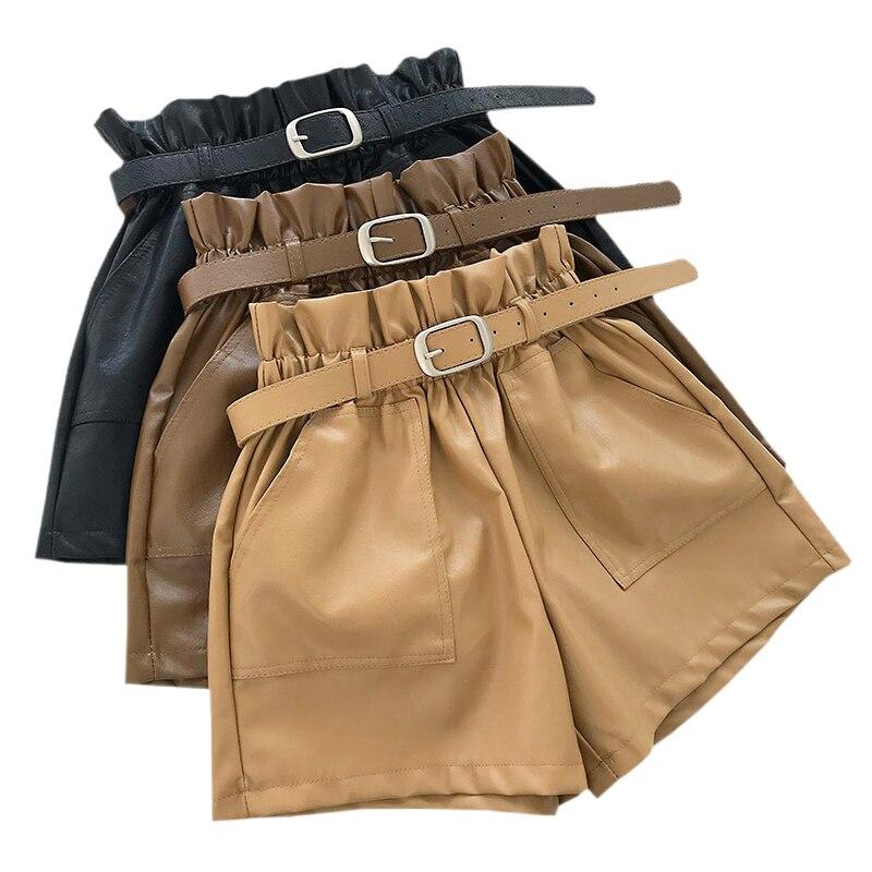 2019 herbst PU Leder Shorts Für Frauen Hohe Taille Lose Breite bein Shorts Winter Casual Femme Elastische Taille Gürtel Leder shorts