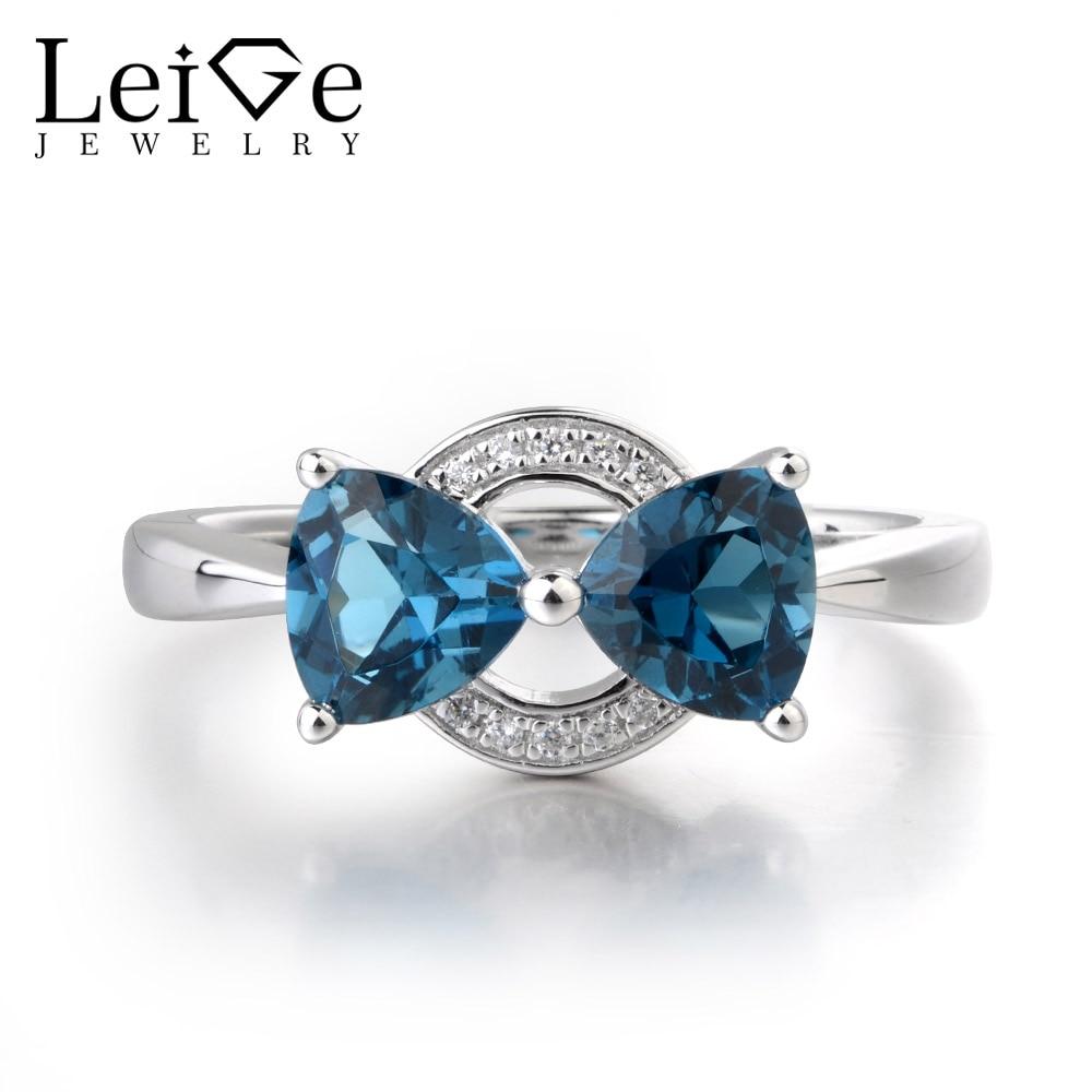Joyería de Lieja Real Londres Topacio Azul piedra preciosa noviembre piedra natal 925 Plata de Ley corte trillion anillos de piedras dobles para mujer