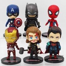 Marvel Superhéroes Superman Batman Iron Man Spiderman Thor Capitán América figuras juguetes 6 unids/set Ironman