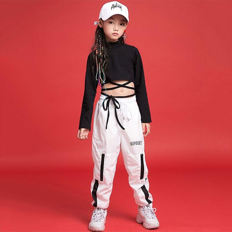 Trajes de baile de Hip Hop para niños, camiseta de manga larga con tirantes negros, pantalones blancos, ropa de Hip Hop para niñas, ropa de baile callejero para niños DN2784