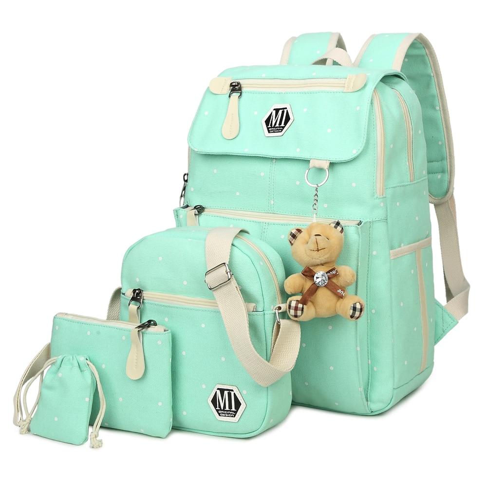 Women Canvas 4Pcs/set School Backpacks College Schoolbag Fashion Plecak for Teenager Girl And Boys R