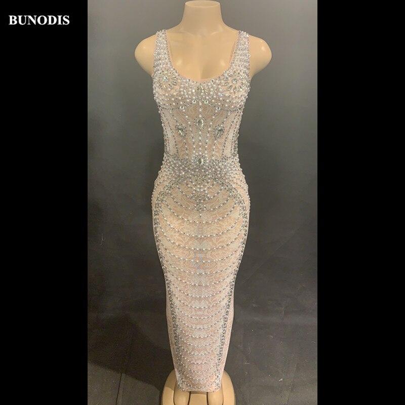ZD457 Falda larga de hilo de red Sexy para mujer, sin mangas, cristales brillantes, perlas, escenario para fiesta de discoteca, ropa de bailarina, cantante, disfraz brillante