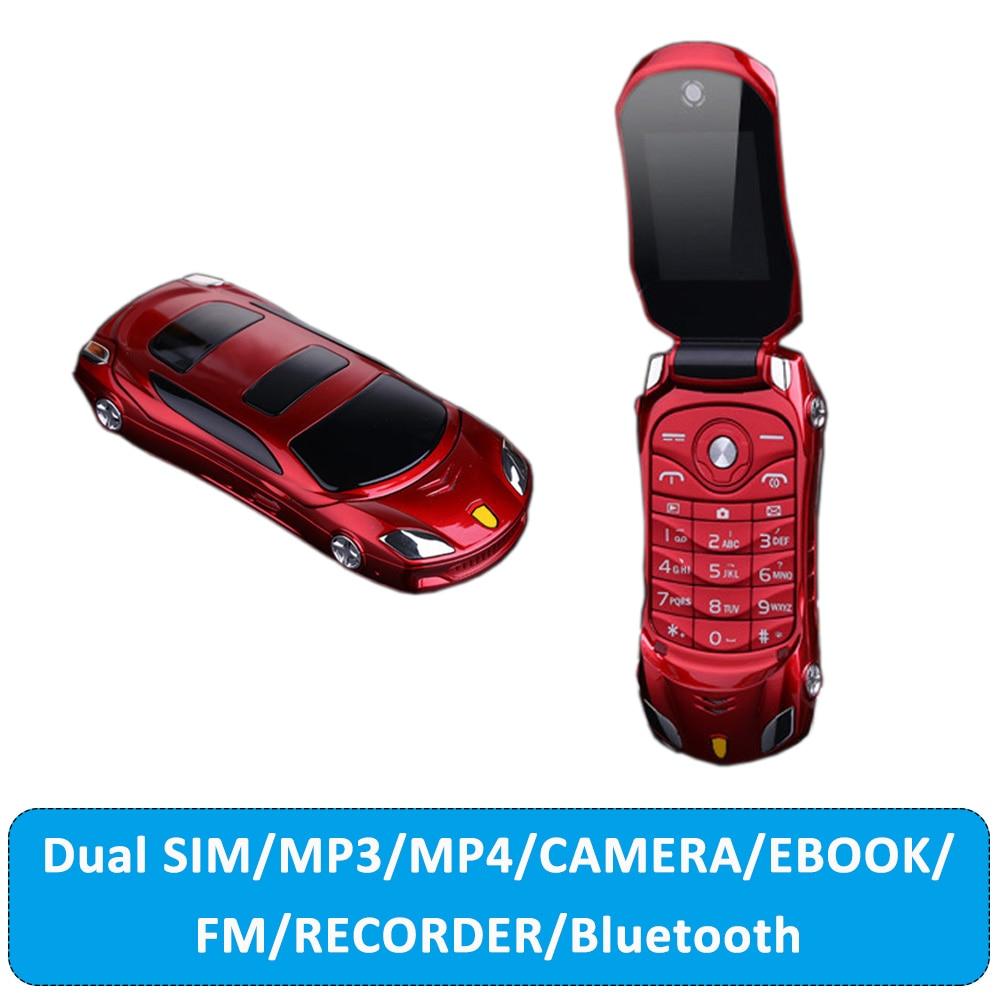 Nueva mente F15 Flip desbloqueado linterna tarjeta Dual Sim con Mp3 Mp4 súper pequeño teléfono móvil modelo de coche Mini Clamshell teléfono móvil