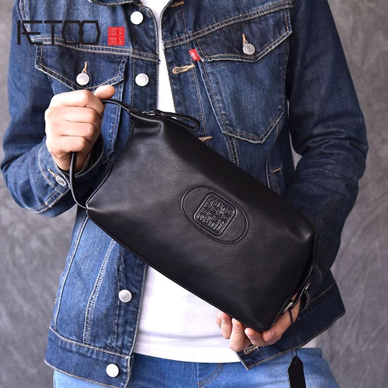 AETOO hakiki deri erkek debriyaj cüzdan moda fermuar erkek cüzdan erkek çanta uzun telefon cüzdan erkek el çantası