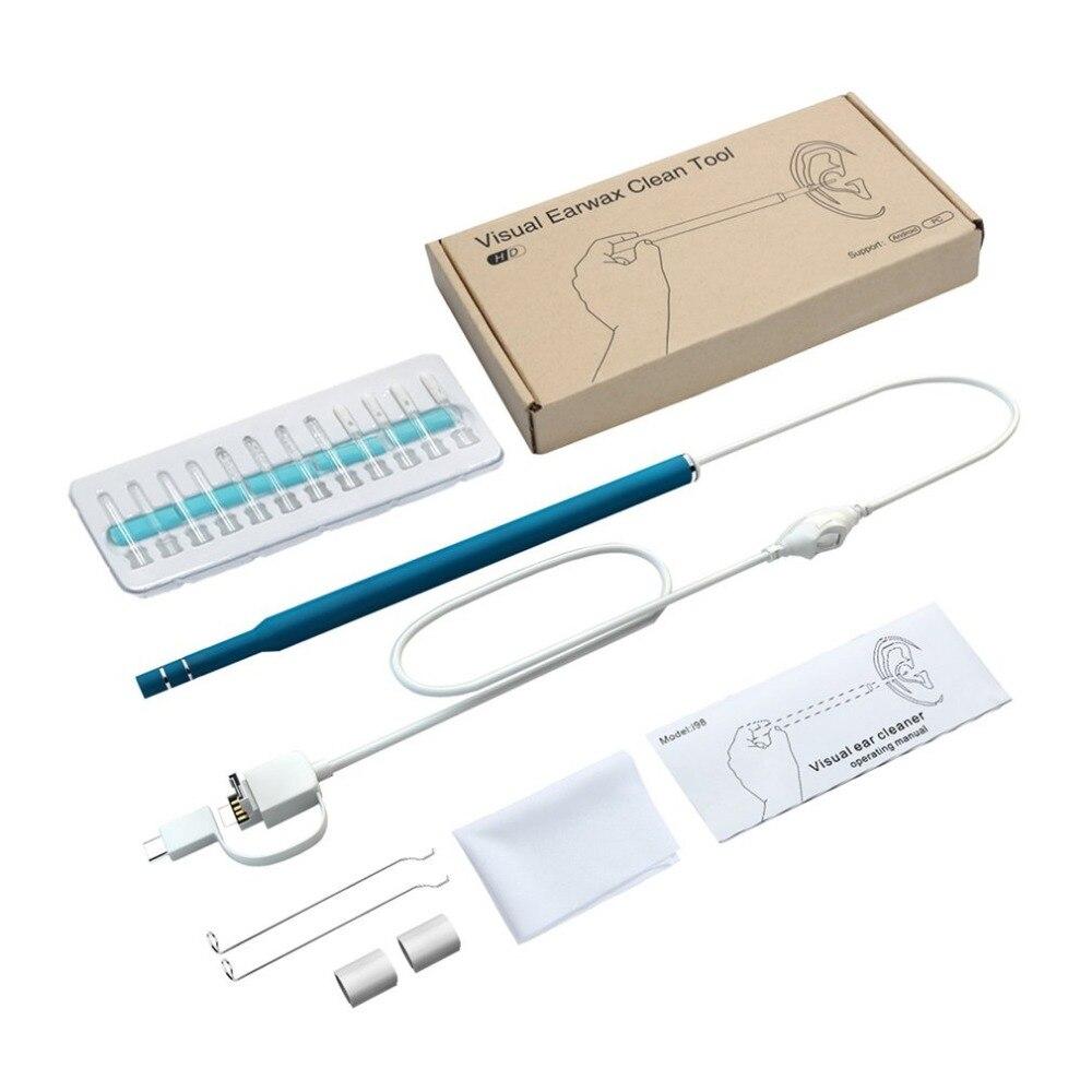 HOT3 in1Ear Cleaning endoscopio cuchara funcional diagnóstico oído limpiar la cera de los oídos herramienta de limpieza de los oídos cuchara de oído otopscope Cámara 0.3MP