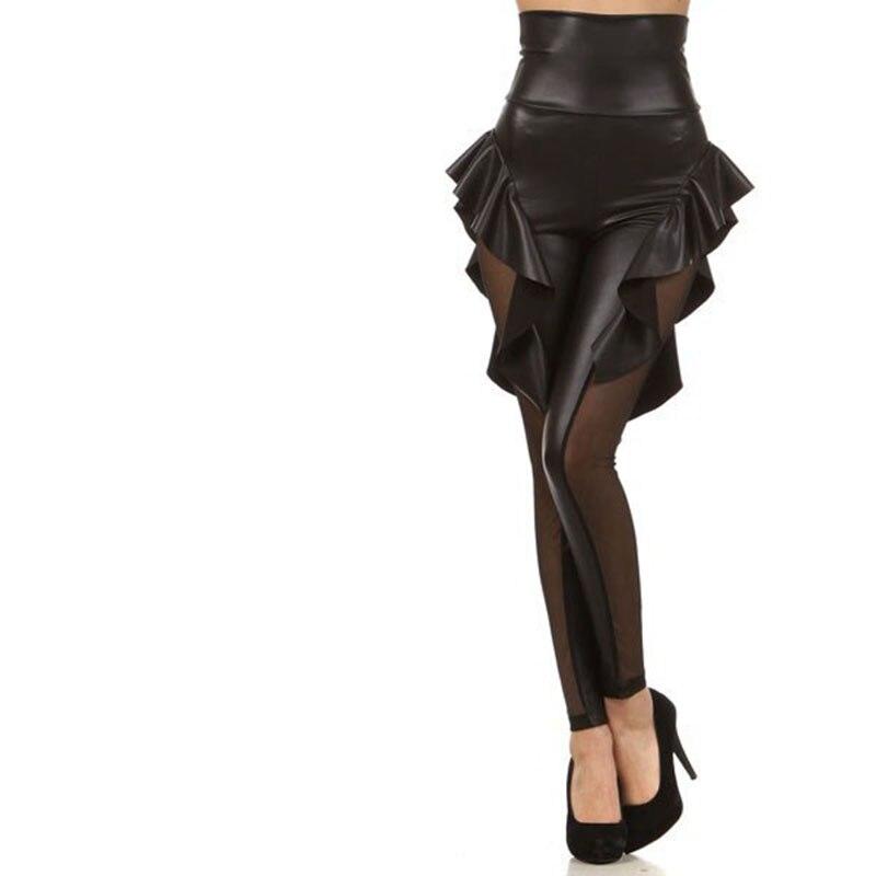 NORMOV, mallas de cintura alta para Mujer, dulce Falbala, cuero de imitación, malla de retazos, Leggings de realce, mallas de entrenamiento de Mujer para Mujer