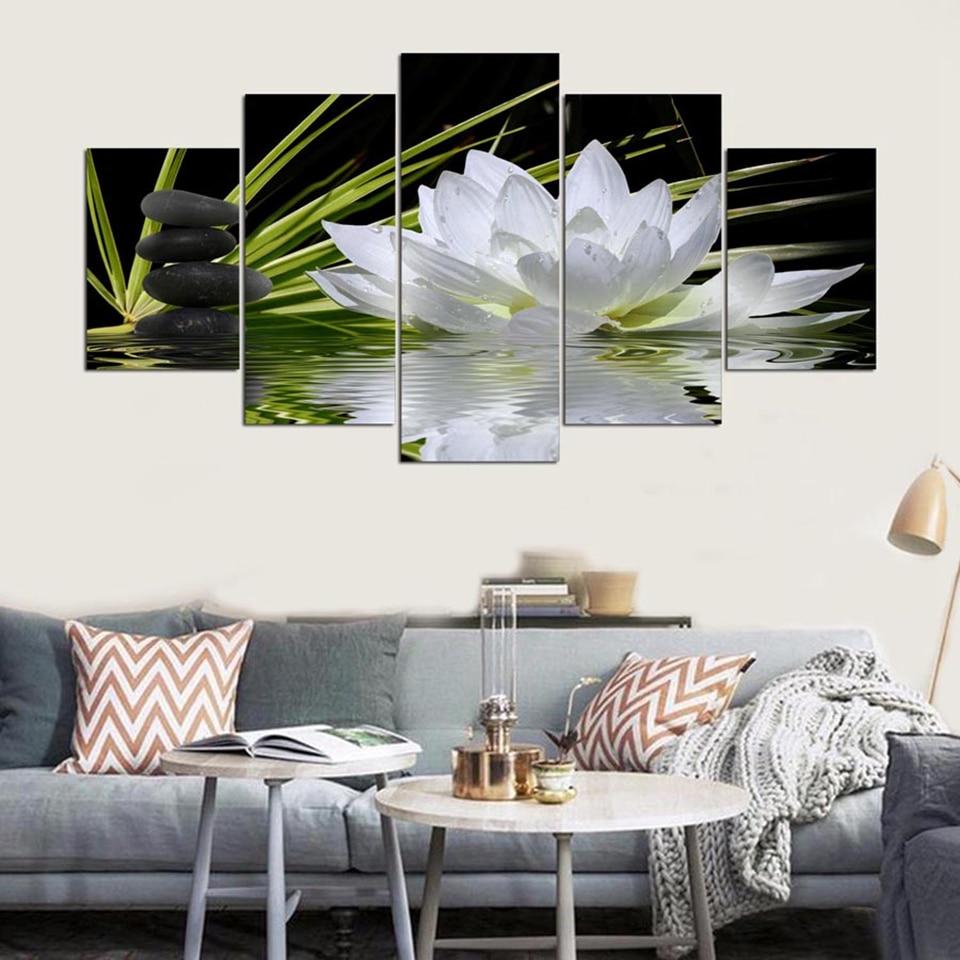 Lona Imprime HD Fotos Modular Wall Art 5 Peças Pinturas de Lótus Branco Pedras Flores Água do Lago Pôsteres Home Decor Quadro