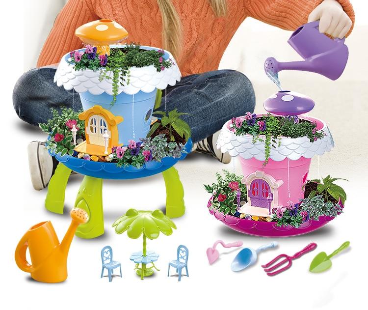 Jardim mágico Fingir Brinquedo DIY Plantio Pote com Luz e Música para a Decoração da Casa de Apoio Presente Das Crianças Aprendizagem Natureza